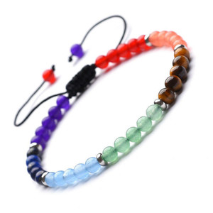 4MM Natural Stone Purple Blue Tiger Eye Beaded Bracelet Turquoise Yoga Energy Stone Reiki Buddhist Wove Sweare