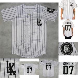 마지막 왕 Kingin LK # 07 야구 저지 100 % 마지막 킹스 Kingin 야구 유니폼 흰색 빠른 배송을 물 렸 다