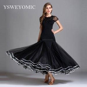 Сценическая одежда 2021 YSWEYOMIC BLACK Современная юбка стройнее на талии Бальное танцевальное платье Национальный стандарт Waltz Tango Конкурсный костюм