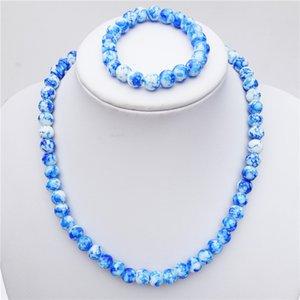 Crianças Handmade Plastic White Pearl Necklace Beads pulseira Set Jóias For Kids Meninas