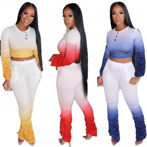 Sport Gradient Women Two Pieces Tracksuits Fashion Stacked Tee Tops Stacked Joggers Sports Pants Clubwear Outfits Autumn 2020 High Quality