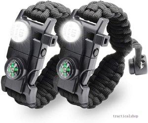 1 Ayarlanabilir Paracord Survival Bilezik 20 SOS LED el feneri, Pusula, Kurtarma Whistle'ı ve Yangın Starter-Açık Yürüyüş Kamp dahildir