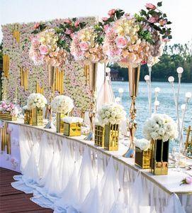 Royal Gold Silver Tall Flower Jarrón Centros de mesa de boda Decoración Party Road Lead Flower Holder Metal Flower Rack para evento DIY