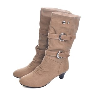 Low High Heels Women Boots Autumn Buckle Mid-Calf Boots Elegant Slip On Pumps Shoes Woman For Ladies Size 35-39 2585