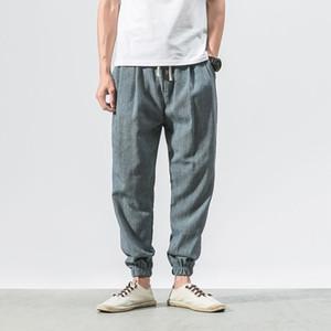 MarchWind Marka Tasarımcı Pamuk Keten Günlük Harem Pantolon Erkekler Koşucular Man Yaz Pantolon Erkek Çince Style Baggy Pantolon Harajuku Clothes