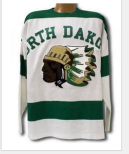 Real de los hombres reales bordado completo 1954 de Dakota del Norte Sioux Jersey cosido 14 Fighting Sioux DAKOTA Jersey o encargo cualquier nombre o el número del jersey