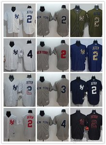 coutume hommes femmes jeunes NY Yankees Jersey # 8 Yogi Berra 5 Joe DiMaggio 4 Lou Gehrig 3 Babe Ruth 2 Derek Jeter Noir Blanc Baseball Maillots