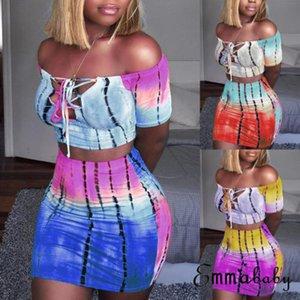 Sexy Mulheres 2 Piece Set Bodycon Skirt Set Casual partido Clubwear Top Curto Enrole Saias Para Mulheres Corte Neck Feminino Bandage roupa