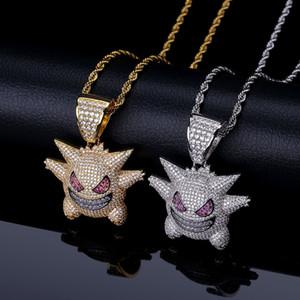Mens Hip Hop Cartoon Collar Colgante Iced Out Púrpura Gengar Collar Colgante Collar de Moda Joyería Con Cadena de Oro de 24 pulgadas