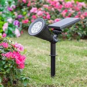 Las luces solares al aire libre, 2-en-1 Focos solares Powered lámpara de césped 4 LED ajustable de pared de luz solar iluminación del paisaje