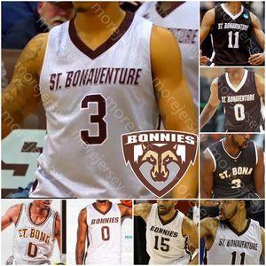 Personalizado St. Bonaventure Bona Bonnies Basketball Jersey NCAA Kyle Lofton Jaren Inglês Welch Osunniyi Winston Adams J. R. Bremer Lanier