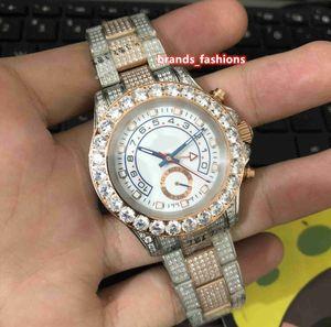 Relojes de acero inoxidable gran diamante Diamond Bisel hombres hermosos de Shell del reloj de oro rosa de Bi-automático de la correa reloj mecánico
