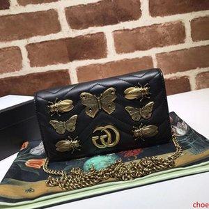 2020 de calidad superior de marca Diseño de mariposa de la letra Mini Corazón embrague Marmont hombro bolso de las mujeres de cuero genuino bolso de Crossbody 488426