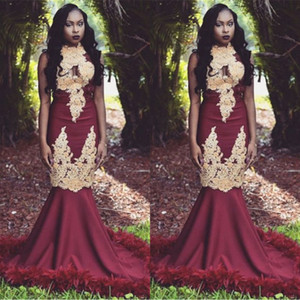 Sexy Burgund Mit Gold Applikationen Feder Prom Kleider 2019 Schwarze Mädchen Südafrikanische Abendkleider Meerjungfrau Stehkragen Lange Vestidos BC1143