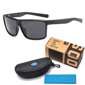 Lüks TR90 Polarize Marka Tasarımcı Erkek ve Kadınlar Suqare Gözlük Plaj Güneş gözlüğü Balık Sörf için Güneş Vaka Kutusu ile güneş gözlüğü