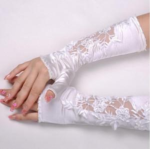 Nouveaux gants de mariage de mariée avec demi-doigts satin satin cousu perle en dentelle dentelle broderie brouillons de fleurs de fleurs de la mariée