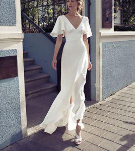 2020 Ensotek V-образным вырезом пляж свадебные платья 2019 Vestido Noiva Praia простые оборки Casamento Boho свадебные платья на заказ асимметричный