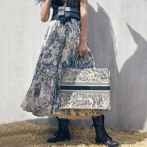 2020 Runway Женщины Юбки Luxury Ink Totem Forest Животное печати Хлопок Высокая талия плиссированные юбки Элегантный Длинные юбки