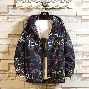 Fashion Marke Frühling Herbst Men Casual Street Floral-Jacken-Mann Wasserdichte Kleidung Herren Windjacke Mantel Männlich Outwear