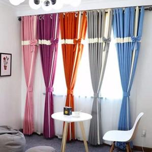Новые 1pair Nordic винтажные шторы из высококачественного сплошного лука Высококачественные шторы, удлиненные (280 см = 110 дюймов) домашние окна Блочная световая завеса