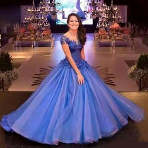 Royal Blue Cap Mangas Vestido de fiesta Vestidos de noche Sheer Neck Lace Appliqued Vestidos de fiesta largos Organza Concurso Quinceanera Dresse