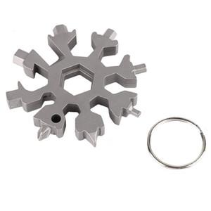 Schneeflocke 12-in-1 Multi Tool Sechskantschlüssel EDC Flaschenöffner Schraubendreher Schlüsselanhänger - Multifunktions-Gadget Outdoor-Karte Fahrradreparatur