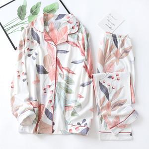Elegante Blumendruck Womens 100% Baumwolle Nachtwäsche Pyjamas Sets Femme Pyjamas Set Homewear Langarm Hosen Schlafkleidung
