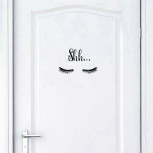 1Pc entfernbare Wand-Aufkleber Shh Wimper-Muster-Wand-Aufkleber für Mädchen Schlafzimmertür Sofa Hauptdekoration Kunst-Wandaufkleber