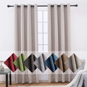 hogar Jarl 7 colores Blackout cortinas para la sala de estar 2 paneles de la cortina para el dormitorio Grommets tapa de la cocina cortinas de ventana