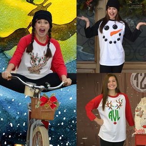 Tshirts Holiday Santa Claus Deer Snowmen Stampato Carino Tops Merry Christmas Donne