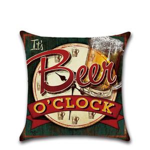 Garrafa de férias Beer estilo fronha britânica Capa retro Pillow 45 * 45 centímetros Algodão Linho carro étnico fronha Home Bar Decoração GGA3234