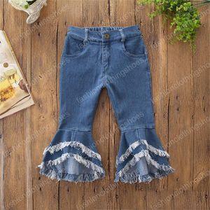 Girl Denim Flare Girl Baby Pants Flared Bottom Bell Pants Designer Clothes Tassels Style INS Denim Kids Jeans Boot Ktung