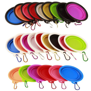 hot Pet Foldable Silicone Bowl Outdoor Travel Portable Cat Dog Bowl Collapsible Pet Food Water Feeding Travel Bowl T2I51084