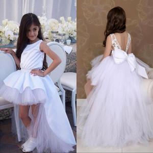 Branco bonito Flower Girl Dresses Baixa Alto para o casamento da Princesa Jewel Neck Tutu Curto miúdos criança Pageant Vestidos Partido Prom aniversário