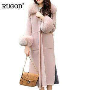 RUGOD Abrigo delgado de cachemira Un botón Desgaste del cuello Abrigo de invierno Mujeres Abrigos y chaquetas de invierno 2018