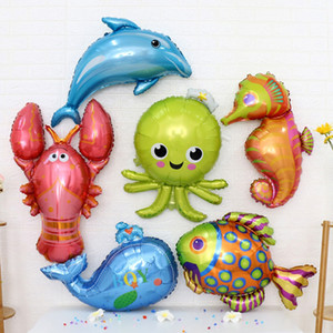 Pack of 6 Set Sea Animal Theme Foil Helium Balloons Kids Toy Birthday Party Decor