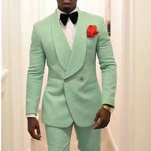 Mint Green Men smoking dello sposo per il vestito da sposa 2019 scialle risvolto due pezzi giacca pantaloni formale Uomo Blazer ultimo stile