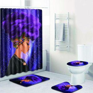 Мода африканская женщина шаблон полиэстер душ занавес набор нескользящие ковры ковер для ванной туалет фланель коврик для ванной набор