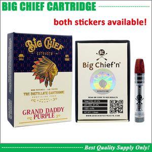 Premium Big Chief Vape cartuccia 0.8ml 1.0ML Pyrex Vetro Serbatoio ceramica Coil Spesso olio distillato 510 Atomizer