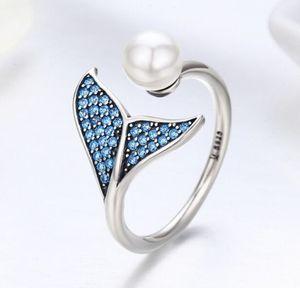 SCR286 Mode Rose Gold Edelstein Mermaid Fish Tail-Finger-Ring-Mädchen-Perlen-Sterlingsilber 2020 Cuff geöffneter Ring