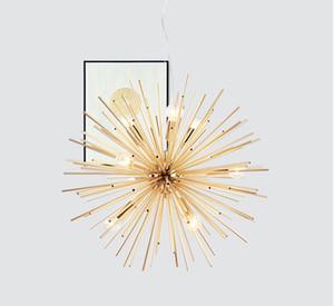 Post-moderne Lumières pendentif en or restaurant The Living Room étude dirigée sphère rayonnement art personnalité lampe suspension design