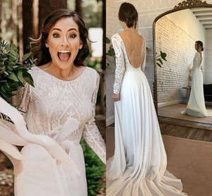 Parisian Style Lace Boho Wedding Dresses Scoop Neck 2020 Country Beach A Line Bridal Gowns Long Sleeve Backless Robes De Mariee AL6442