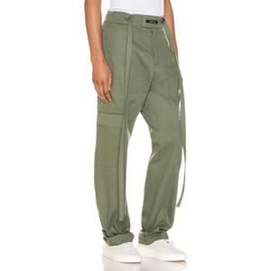 19FW Pantalon cargo Tooling cordonnet Pantalons Sport Casual Straight lâche Joggers taille élastique Hommes Femmes Couple de HFHLKZ046