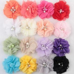Mousseline de soie fleurs avec perles Centre strass fleurs artificielles en tissu Fleurs Enfants Accessoires cheveux bébé Bandeaux Fleur Diy