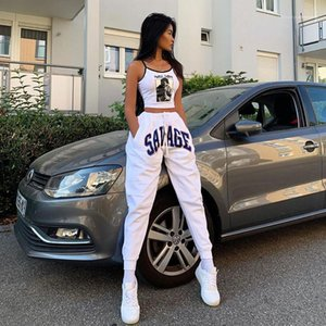 Pants Fashion Drawstring Designer Ladies Capris Casual High Waist White Female Pants Letters Printed Womens Pencil
