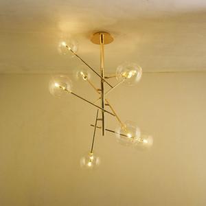 Luxo decorativo moderno de metal ouro pingente de vidro transparente lâmpada G4 LED lustre sala de jantar luminária para sala de estar
