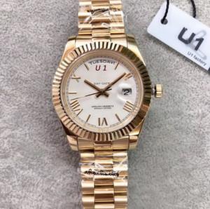 Открытый автоматические механические мужские часы Часы 40MM белый циферблат с фиксированным Рифленый ободок и золотой браслет из нержавеющей стали