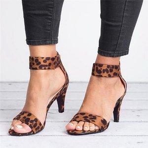 WENYUJH 2019 Donne Piazza Flock tacco Sandali Leopard High Heels cinghia femminile Zipper Moda Donna sandalo Sandalias