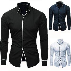 Uomini Shirt Camicie Uomo manica lunga solido casuale Multi-Button Hit colori Slim misura del vestito camicie da sera Mens Shirt XXXL