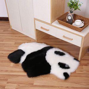 Doux en fausse fourrure en peau de mouton Tapis Pour Chambre Canapé-Seat Cover Salon Shaggy nuit Zone Panda Koala Room Shape Tapis Décor